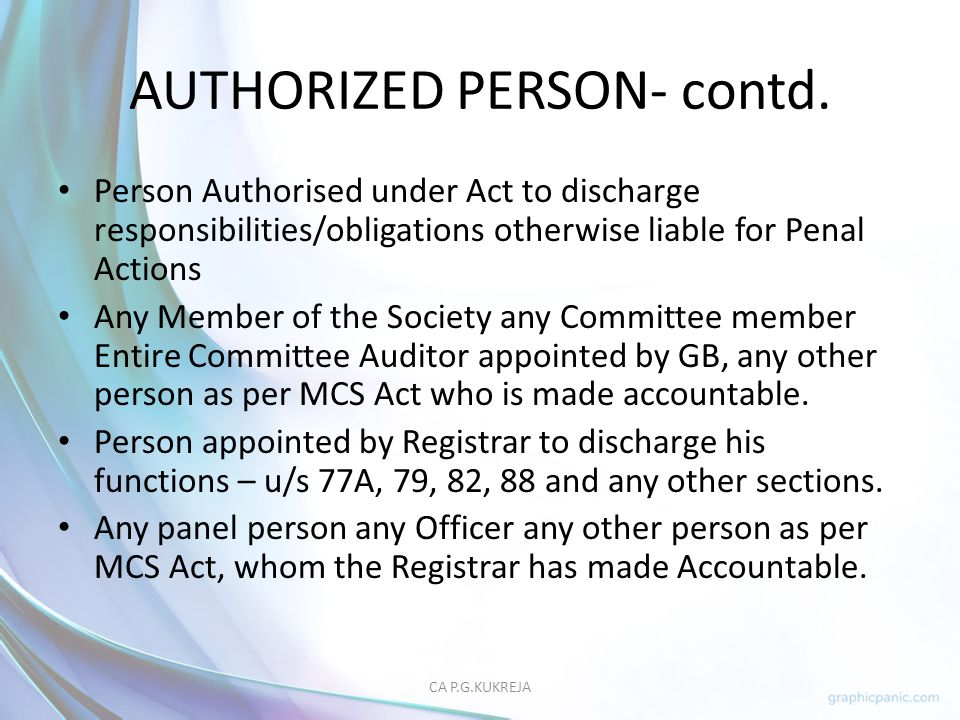 AUTHORIZED PERSON- contd.