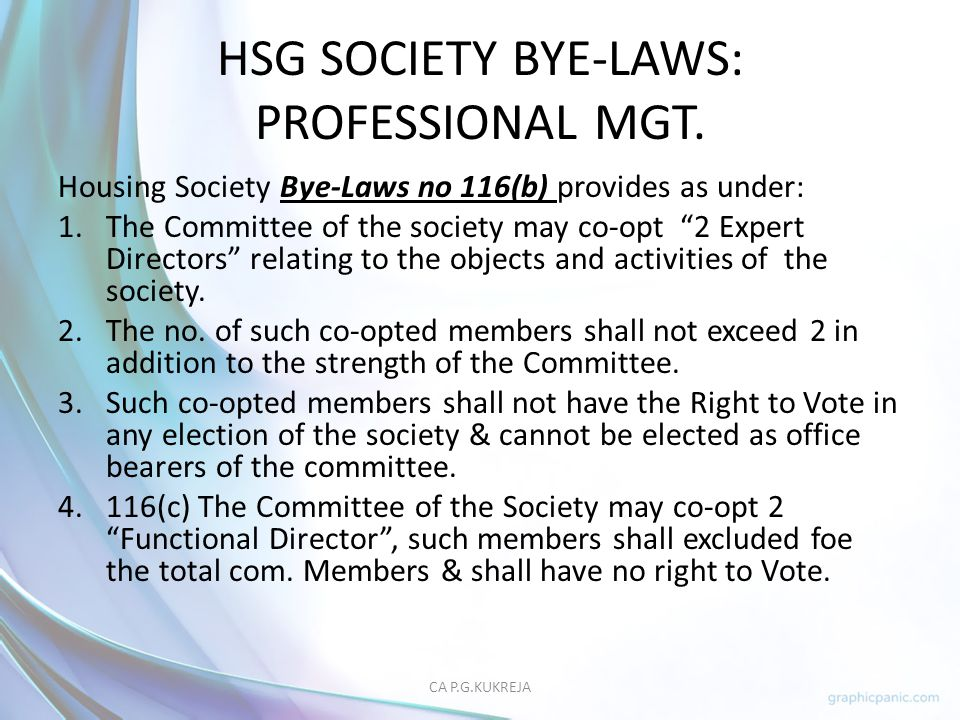 HSG SOCIETY BYE-LAWS: PROFESSIONAL MGT.