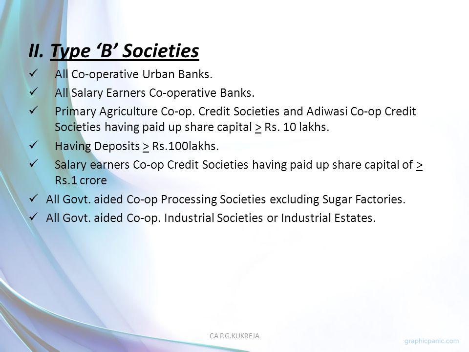 II. Type 'B' Societies All Co-operative Urban Banks.