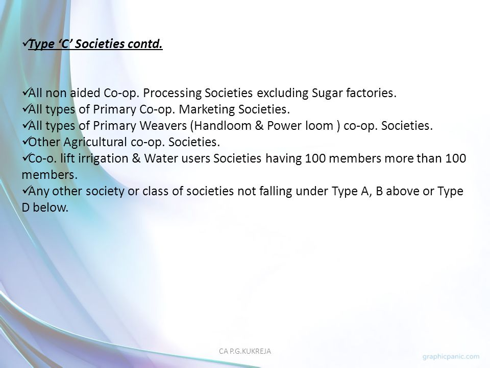 Type 'C' Societies contd.