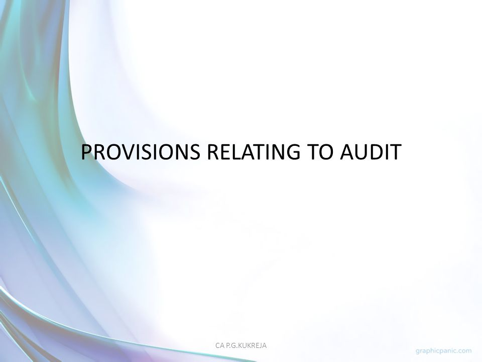 PROVISIONS RELATING TO AUDIT