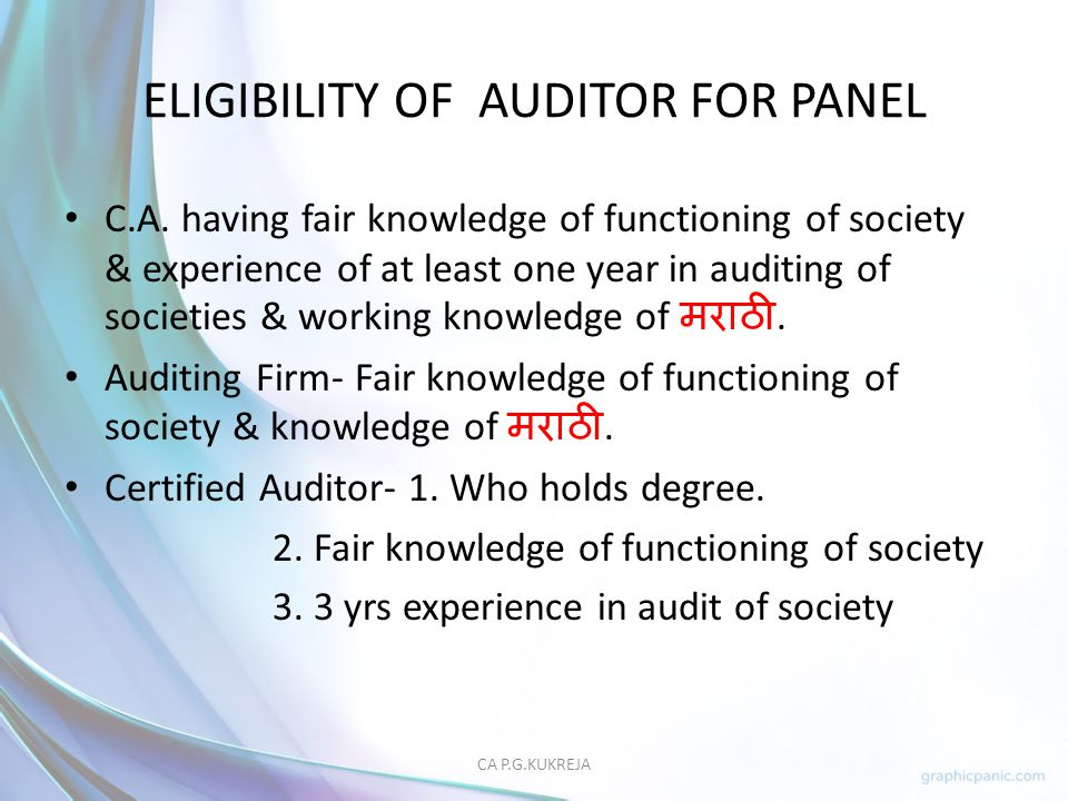 ELIGIBILITY OF AUDITOR FOR PANEL