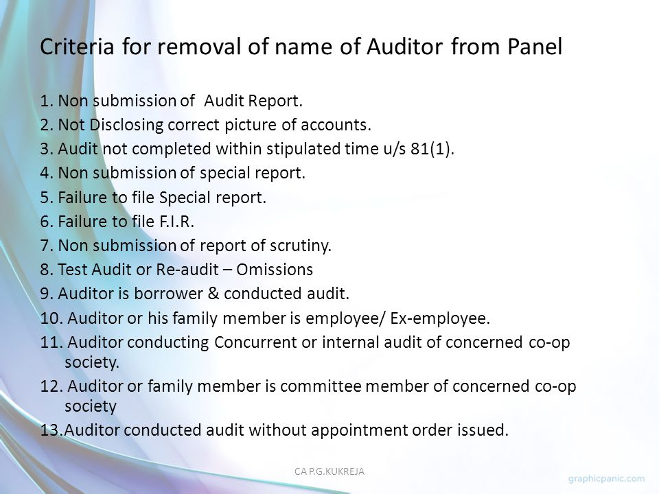 Criteria for removal of name of Auditor from Panel