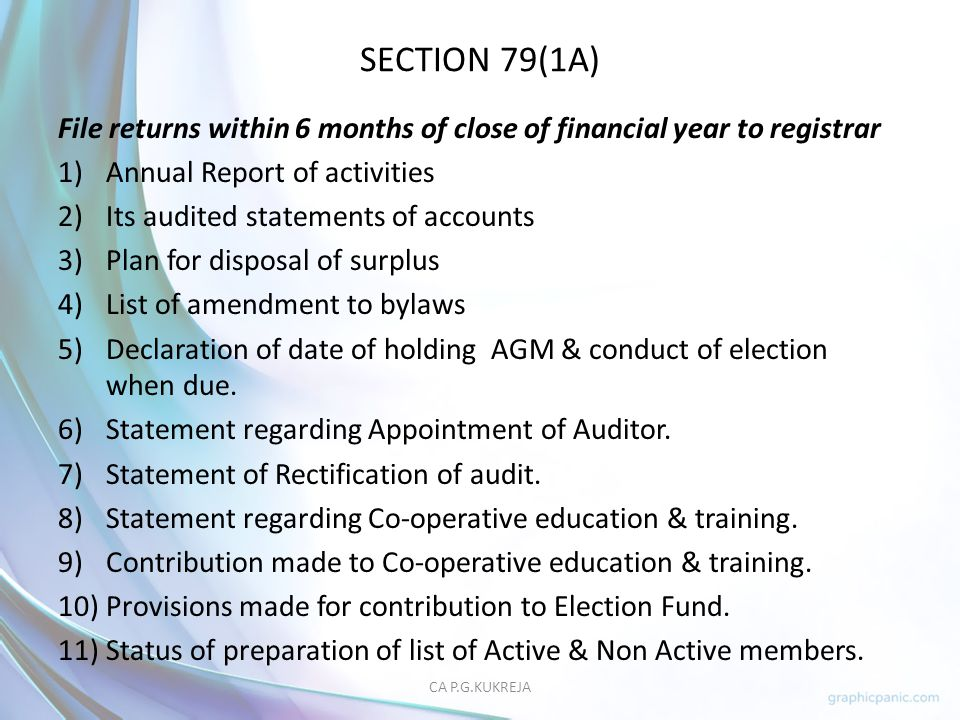 SECTION 79(1A) File returns within 6 months of close of financial year to registrar. Annual Report of activities.
