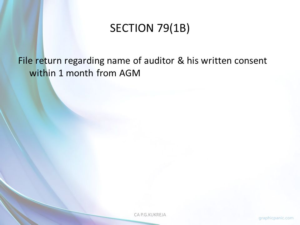 SECTION 79(1B) File return regarding name of auditor & his written consent within 1 month from AGM.