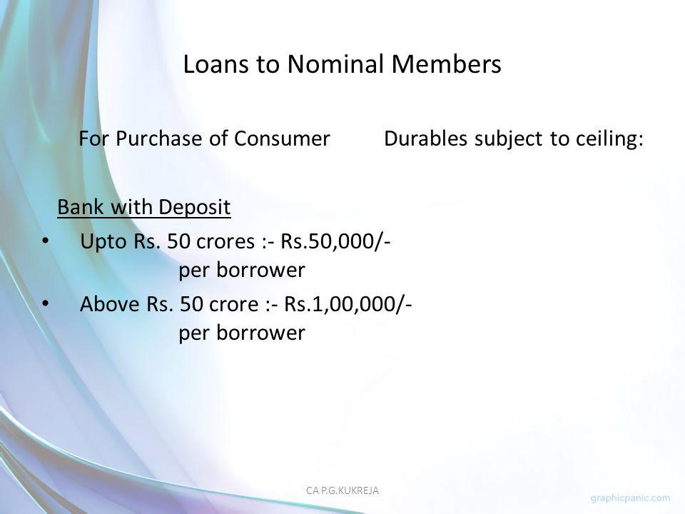 Loans to Nominal Members