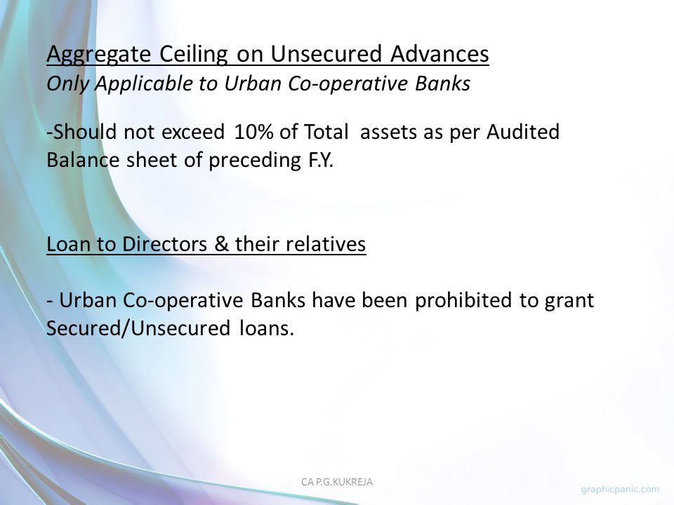 Aggregate Ceiling on Unsecured Advances