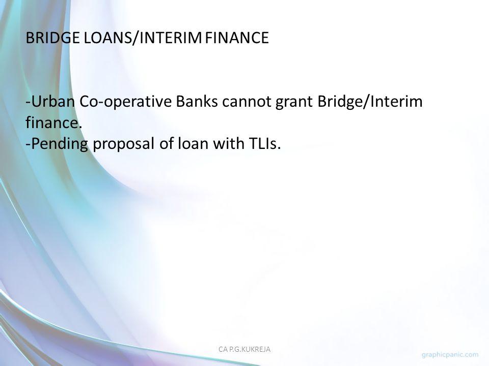 BRIDGE LOANS/INTERIM FINANCE