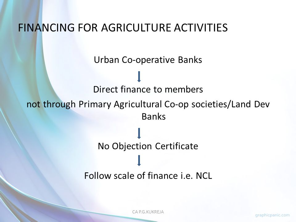 FINANCING FOR AGRICULTURE ACTIVITIES