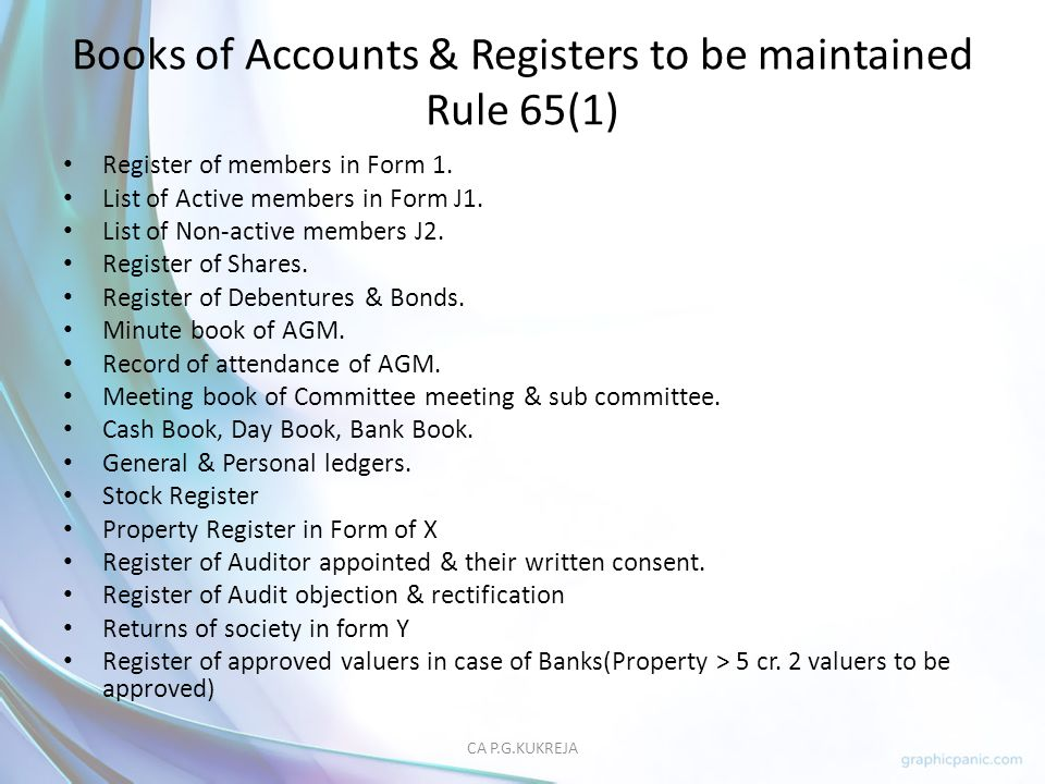 Books of Accounts & Registers to be maintained Rule 65(1)