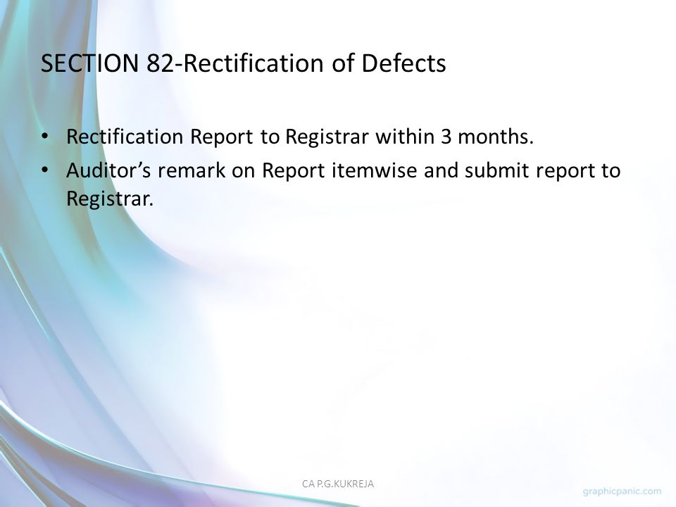 SECTION 82-Rectification of Defects