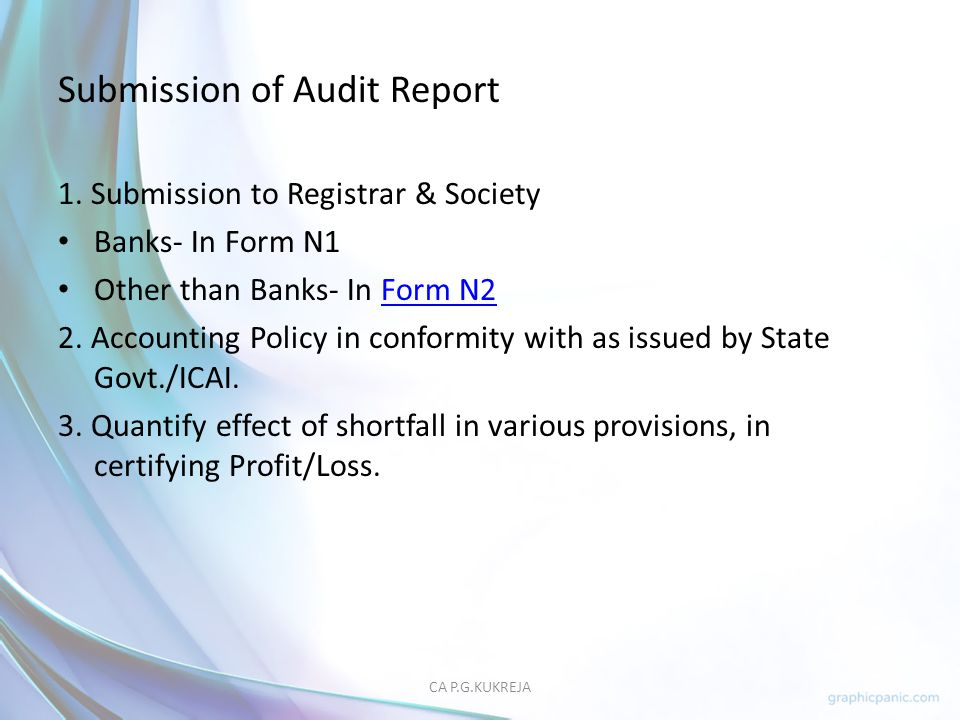 Submission of Audit Report