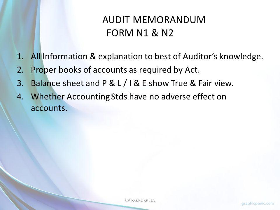 AUDIT MEMORANDUM FORM N1 & N2