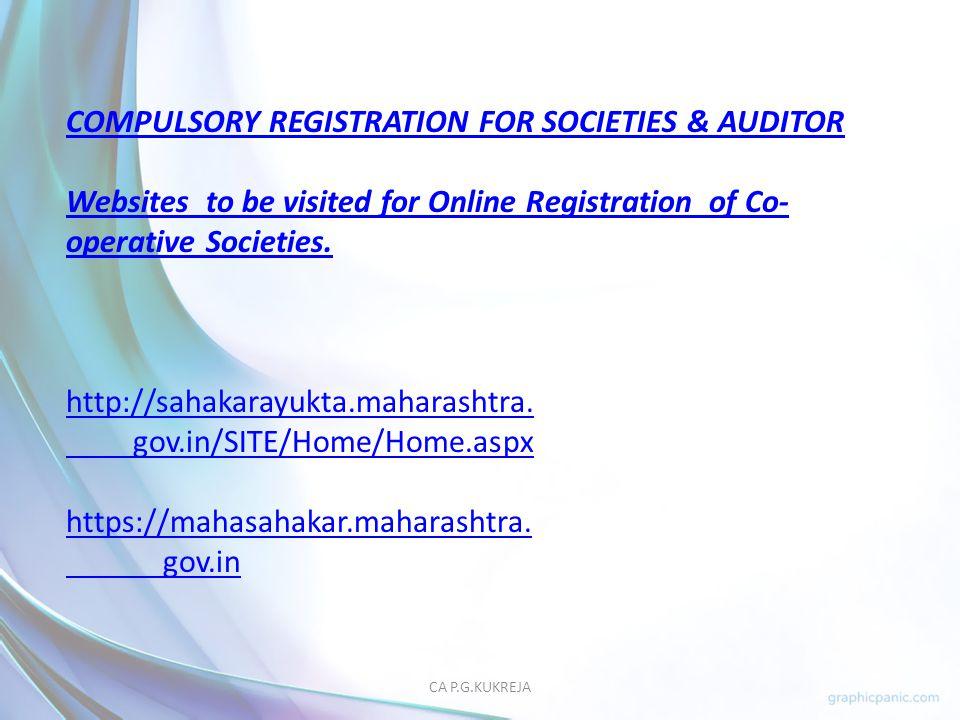 COMPULSORY REGISTRATION FOR SOCIETIES & AUDITOR