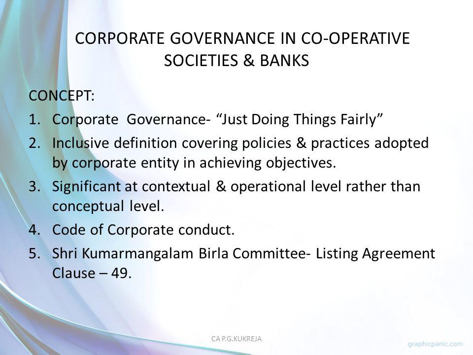 CORPORATE GOVERNANCE IN CO-OPERATIVE SOCIETIES & BANKS