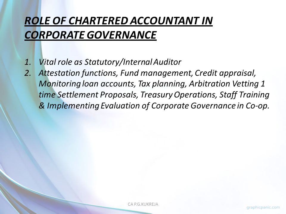 ROLE OF CHARTERED ACCOUNTANT IN CORPORATE GOVERNANCE
