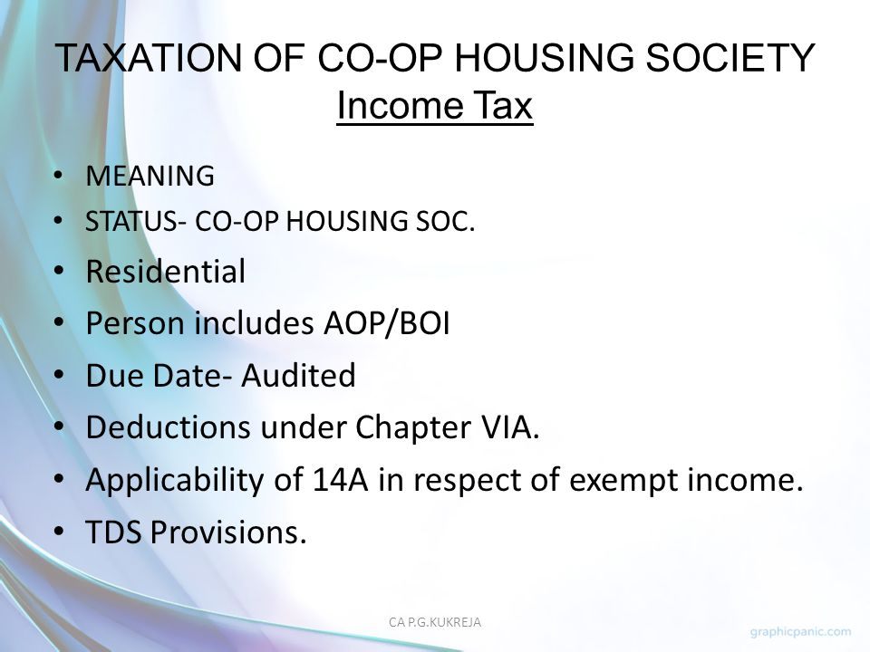 TAXATION OF CO-OP HOUSING SOCIETY Income Tax