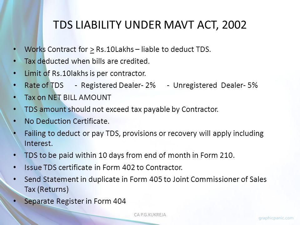 TDS LIABILITY UNDER MAVT ACT, 2002