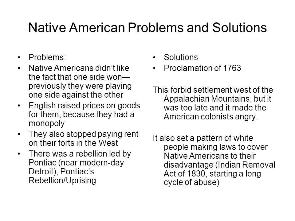 Native American Problems and Solutions
