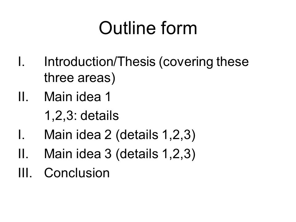 Outline form Introduction/Thesis (covering these three areas)
