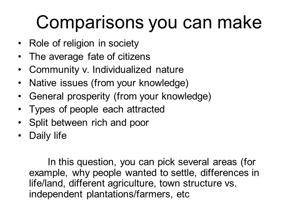 Comparisons you can make