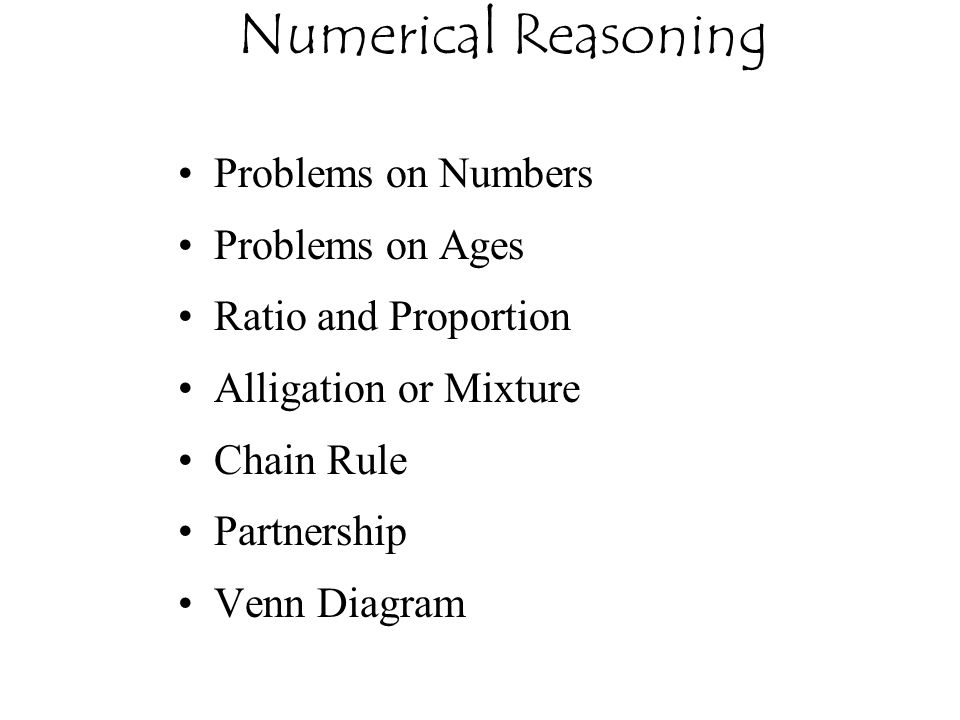 Numerical Reasoning Problems on Numbers Problems on Ages