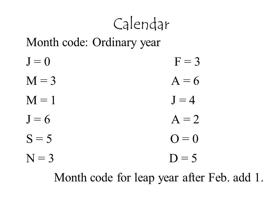 Calendar Month code: Ordinary year J = 0 F = 3 M = 3 A = 6 M = 1 J = 4