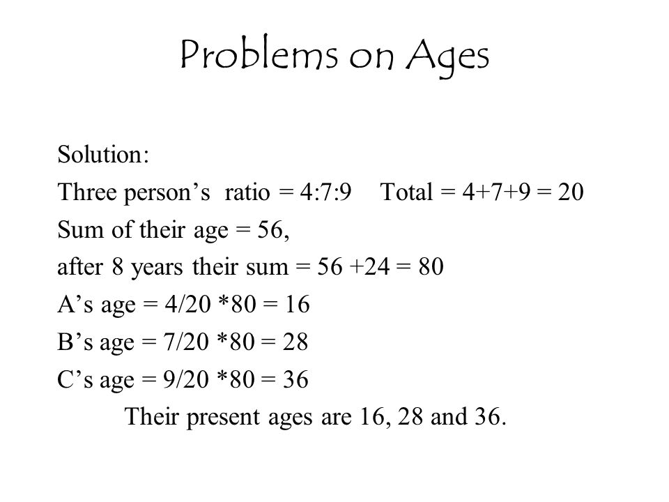 Problems on Ages Solution:
