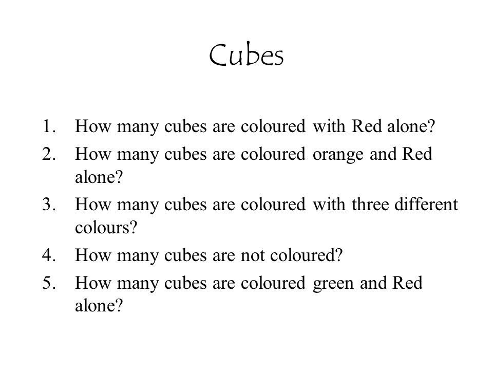 Cubes How many cubes are coloured with Red alone