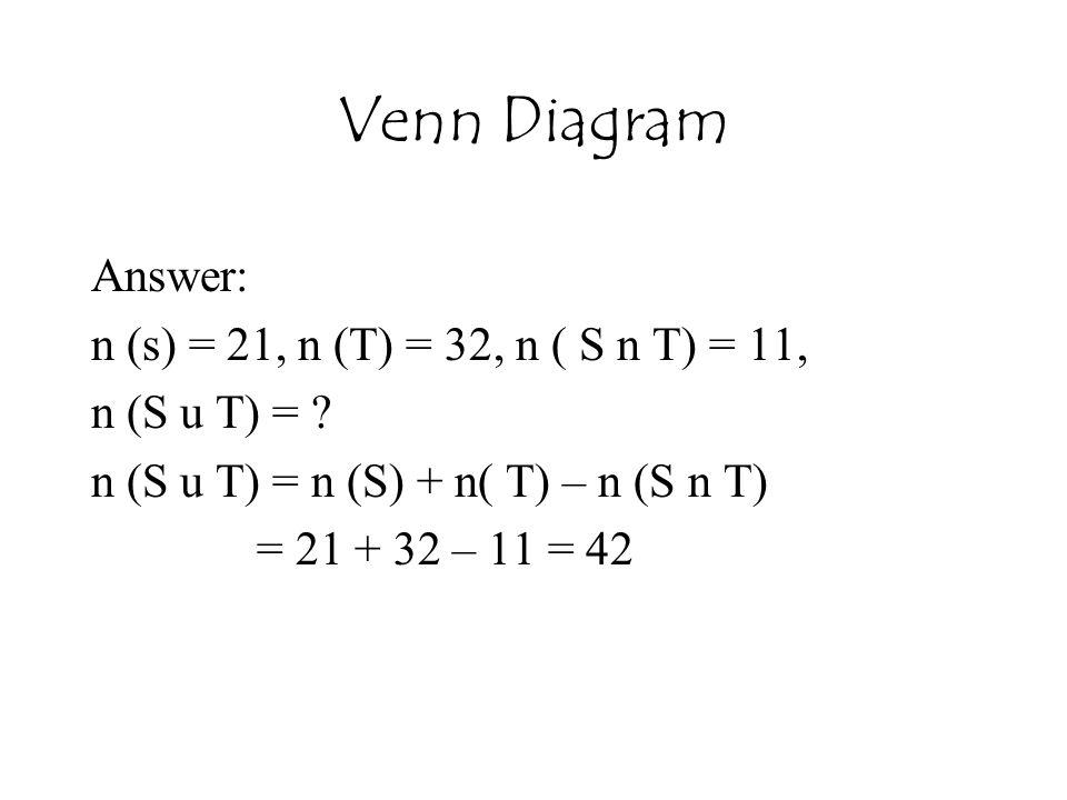 Venn Diagram Answer: n (s) = 21, n (T) = 32, n ( S n T) = 11,