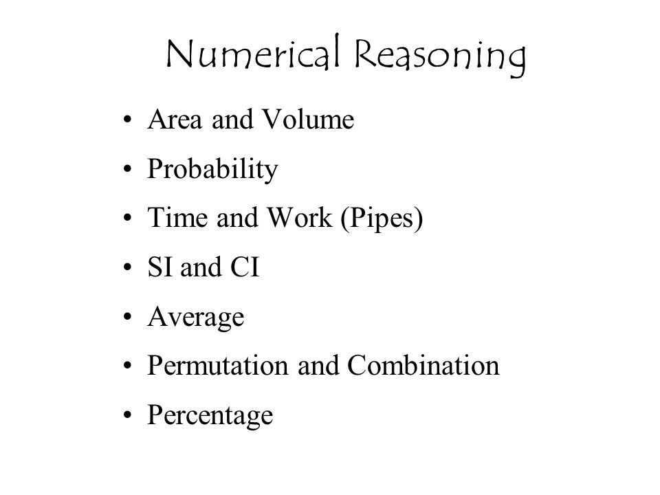 Numerical Reasoning Area and Volume Probability Time and Work (Pipes)