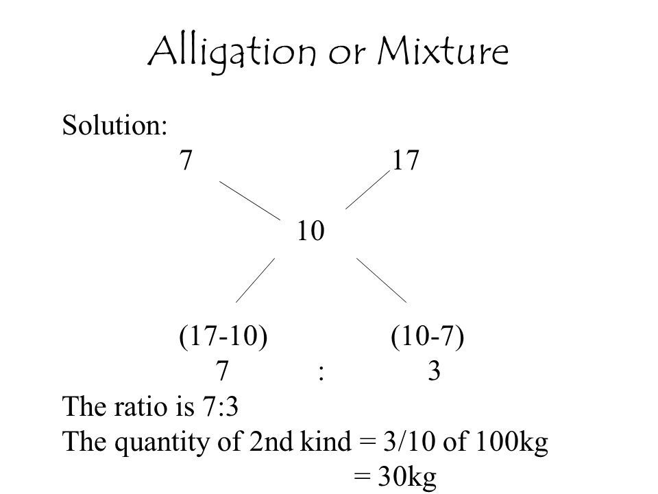 Alligation or Mixture Solution: 7 17 10 (17-10) (10-7) 7 : 3