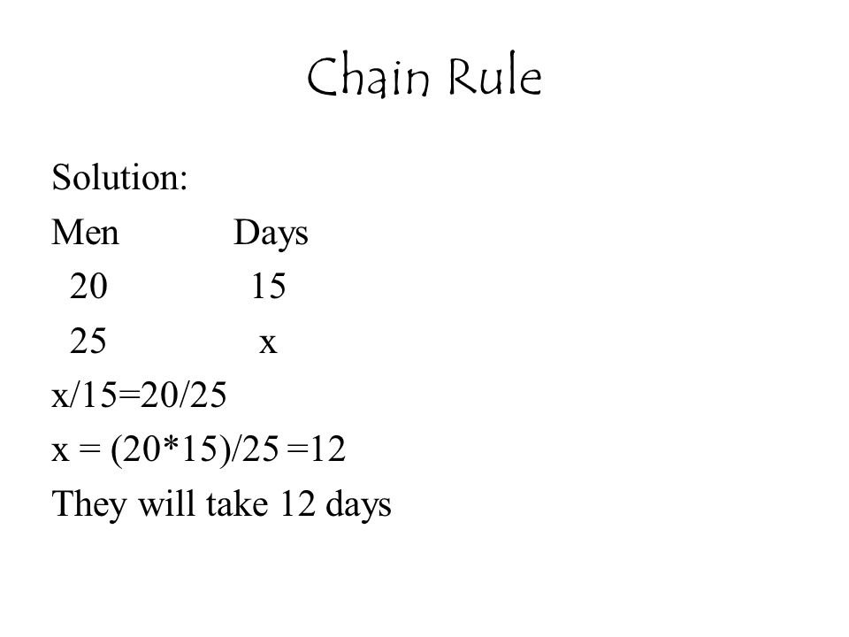 Chain Rule Solution: Men Days 20 15 25 x x/15=20/25 x = (20*15)/25 =12