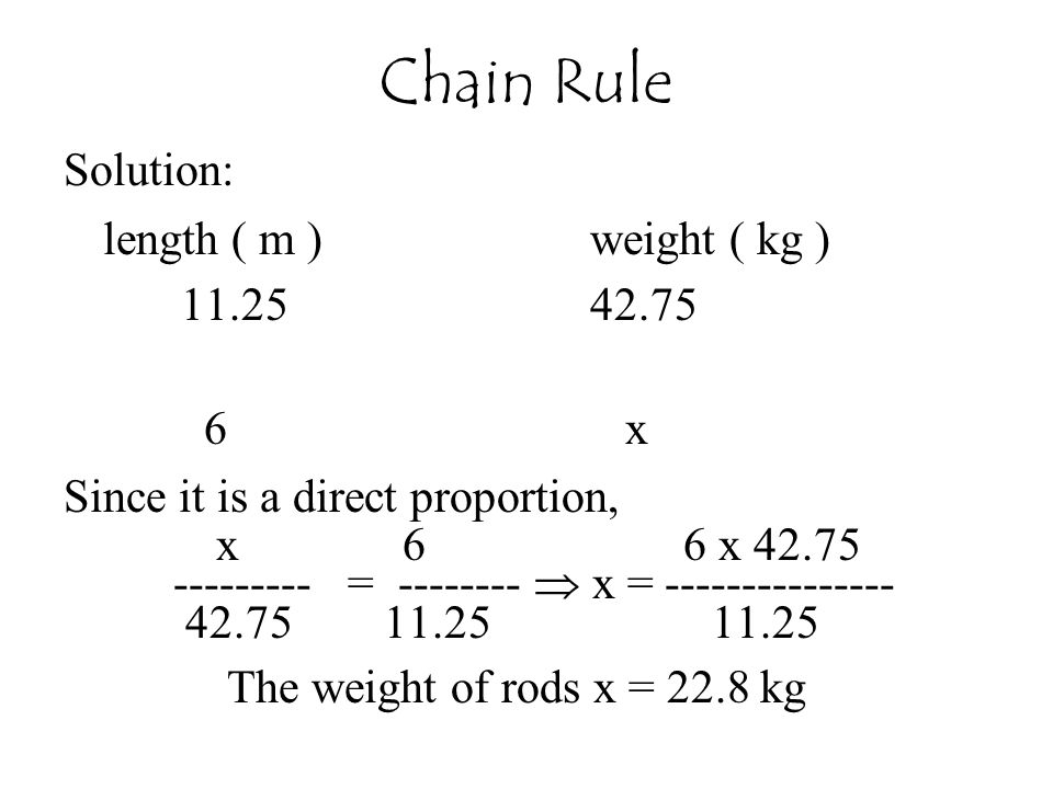 Chain Rule Solution: length ( m ) weight ( kg ) 11.25 42.75 6 x