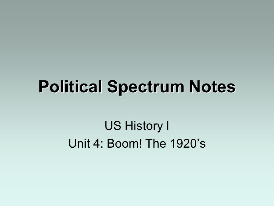 Political Spectrum Notes