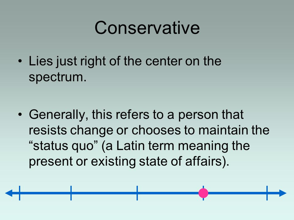 Conservative Lies just right of the center on the spectrum.