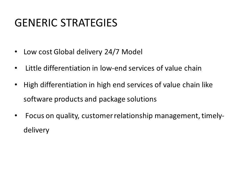 GENERIC STRATEGIES Low cost Global delivery 24/7 Model