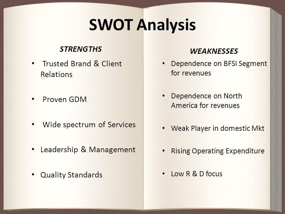 SWOT Analysis STRENGTHS WEAKNESSES Trusted Brand & Client Relations