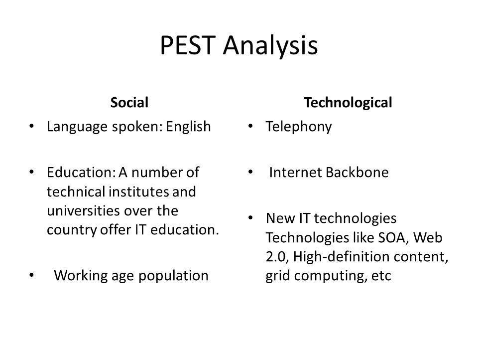 PEST Analysis Social Technological Language spoken: English