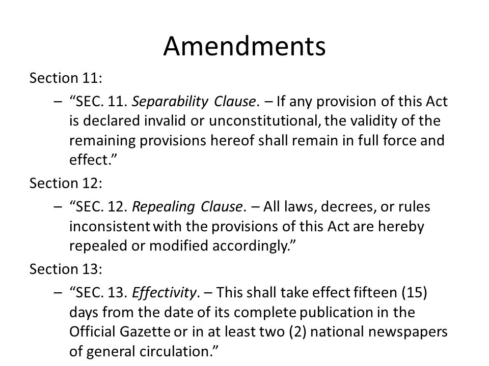 Amendments Section 11: