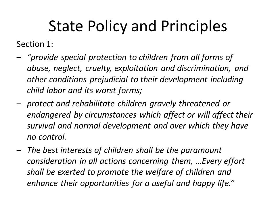 State Policy and Principles