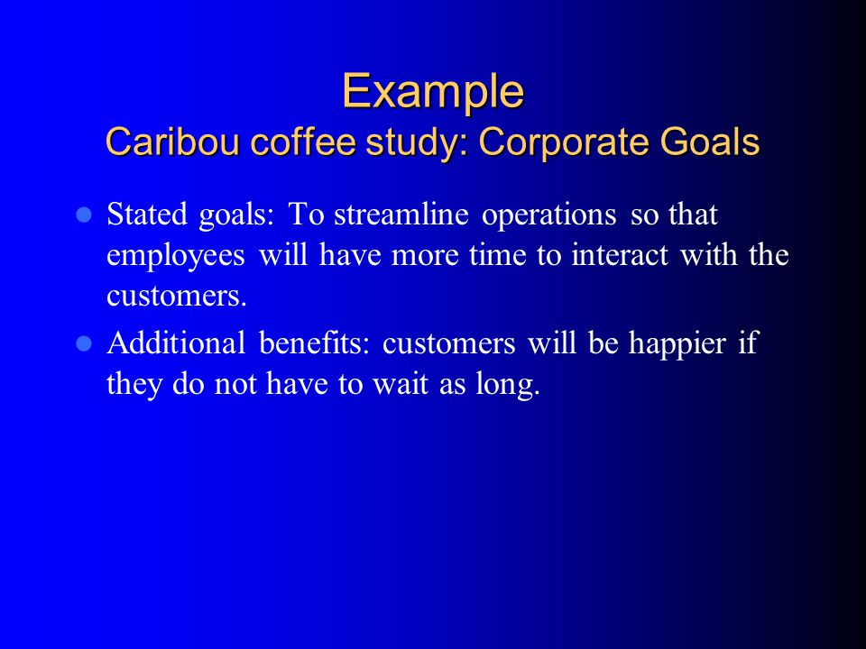 Example Caribou coffee study: Corporate Goals