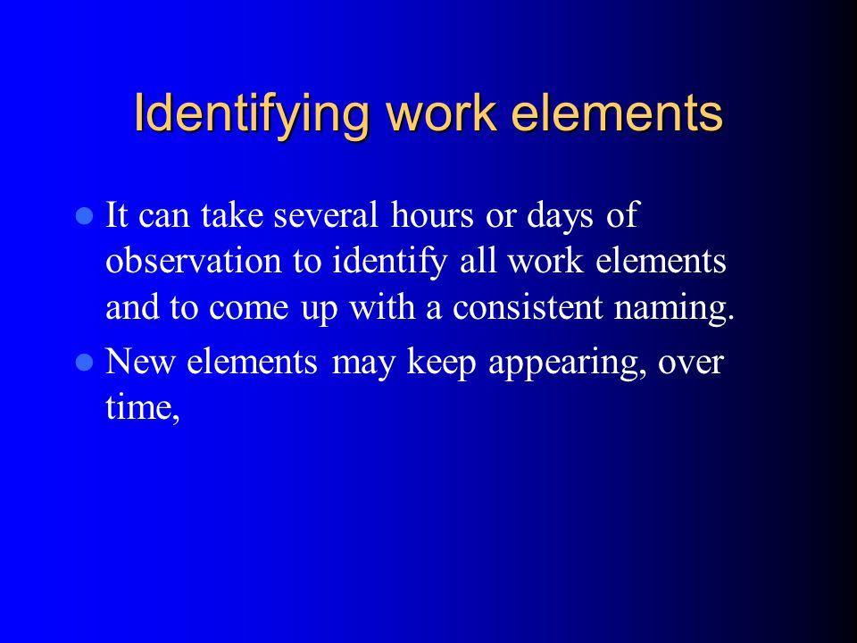 Identifying work elements