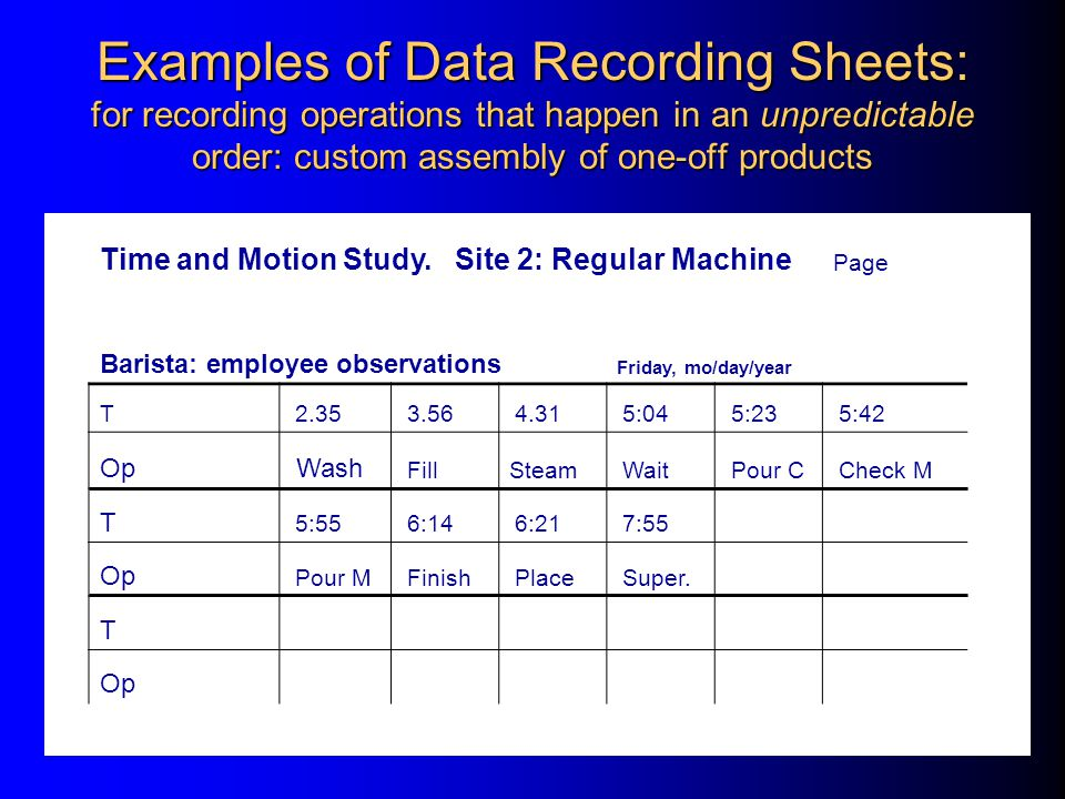 Examples of Data Recording Sheets: for recording operations that happen in an unpredictable order: custom assembly of one-off products