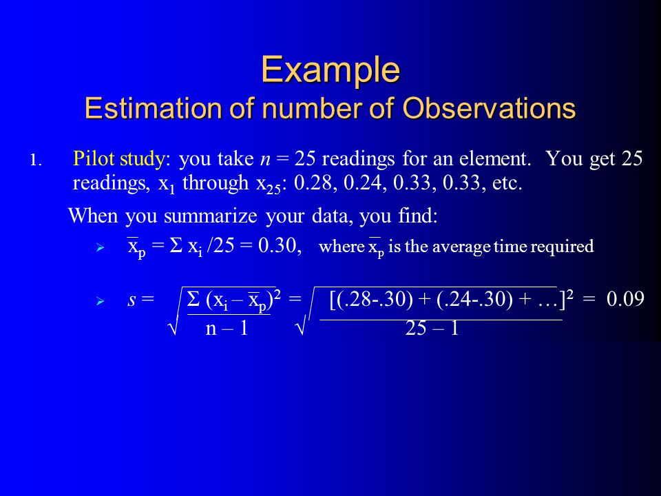 Example Estimation of number of Observations