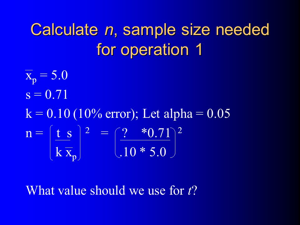 Calculate n, sample size needed for operation 1