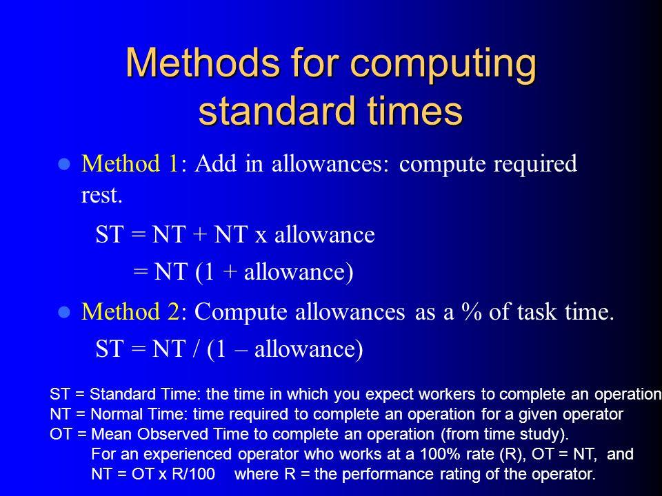 Methods for computing standard times