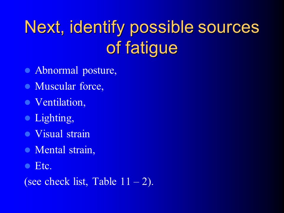 Next, identify possible sources of fatigue