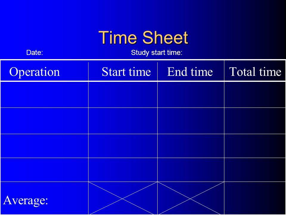 Time Sheet Operation Start time End time Total time Average: Date: