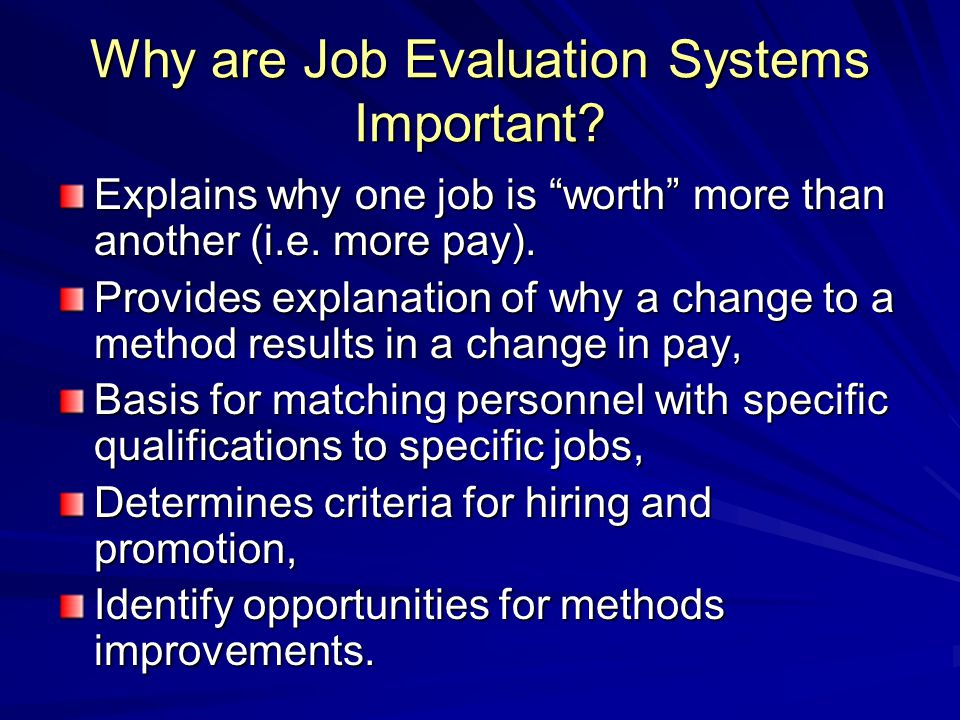 Why are Job Evaluation Systems Important
